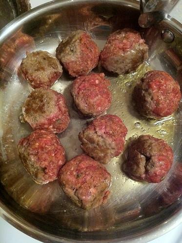 medium seared meatballs