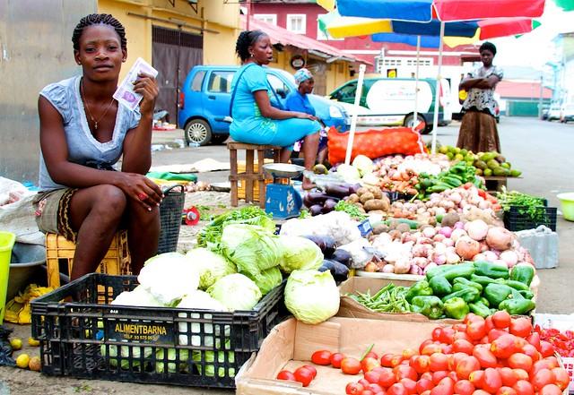 Produce vendor in Malabo, Equatorial Guinea