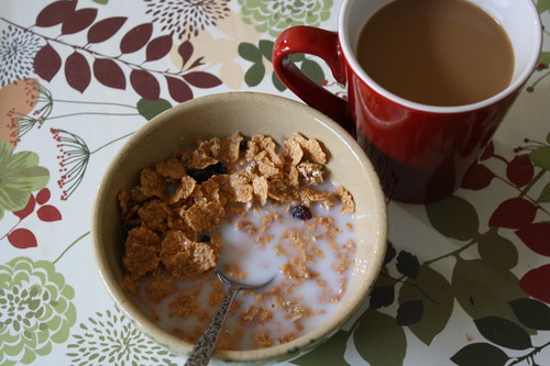 raisin bran, coffee