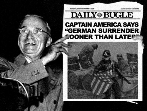 Harry Truman holding up Captain America in Daily Bugle