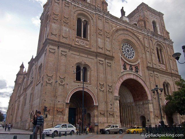 Monumental front facade of La Catedral