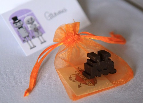 Favours! Chocolate space invaders and temporary tattoos