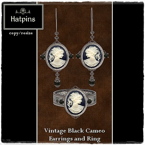 Hatpins - Vintage Black Cameo Earrings and Ring