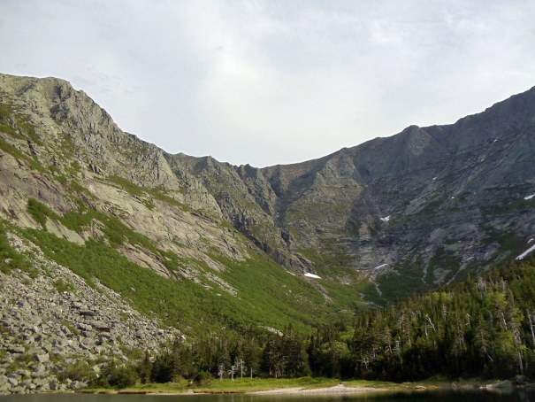 The view of Katahdin's South Basin from Chimney Pond.