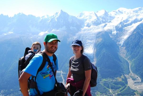 Teo, Pau y Vero en los Alpes Franceses