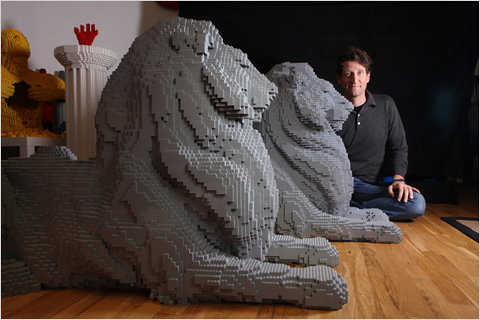 Lego NYPL Library Lions Patience & Fortitude with Nathan Sawaya