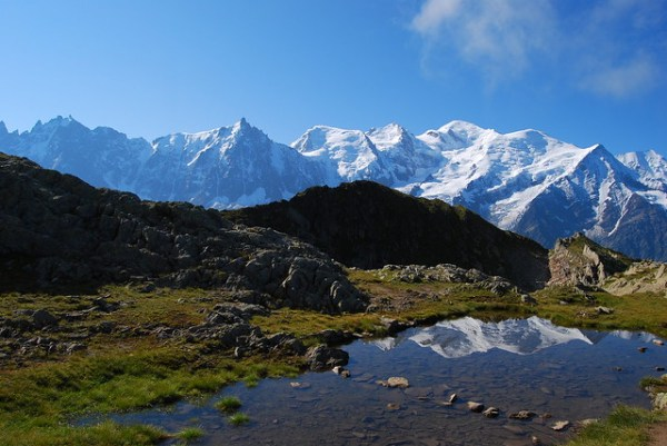 El Macizo del Mont Blanc reflejado