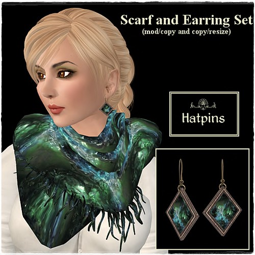 Hatpins - Jade Scarf and Earrings