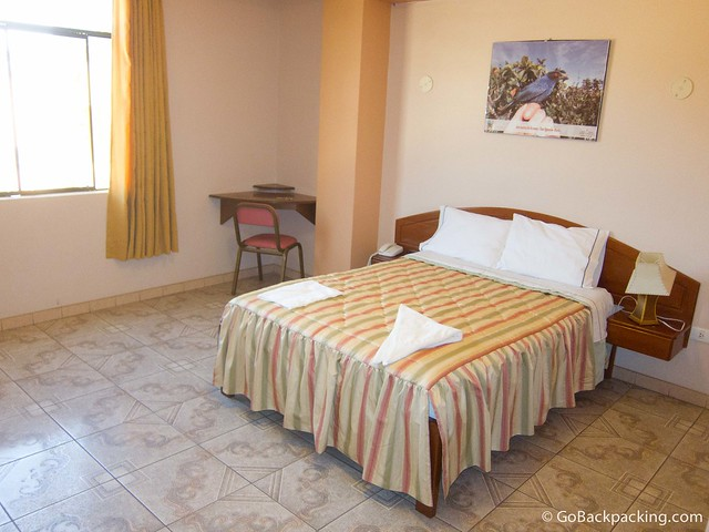 My room at the Gran Hotel in San Ignacio, Peru
