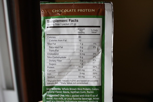Nutrition Facts Sunwarrior chocolate protein powder
