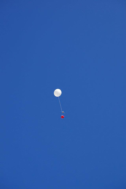The balloon takes flight