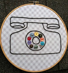 Vintage Phone Embroidery Hoop Art