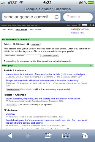Google Scholar Citations mobile - NOT!
