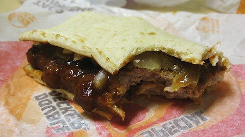 the chicken mcrib flatbread sandwich