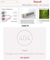 Pinterest 404ed link from homepage