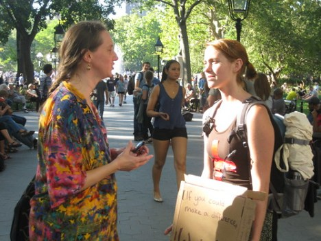 Kimberly speaks with an OWS demonstrator at WSqP