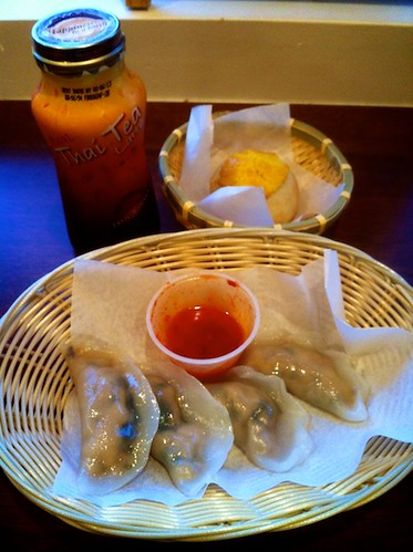Chicken Dumplings and Sweet Bun with Bottled Thai Iced Tea by bloompy