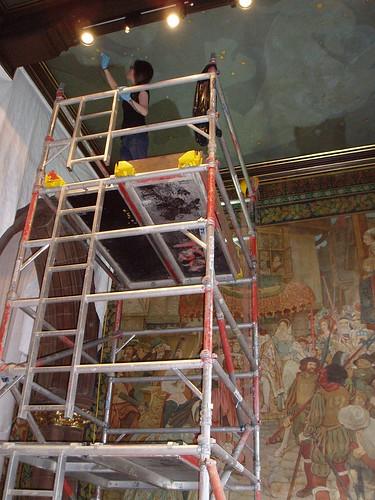 Eeva working on the scaffold