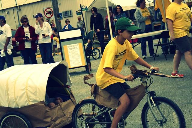 DIY bike trailer covered wagon