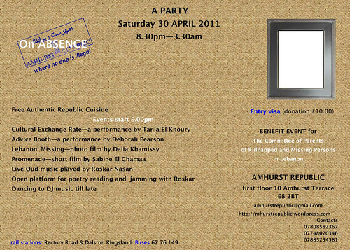 On Absence, event invitation by AmhurstRepublic