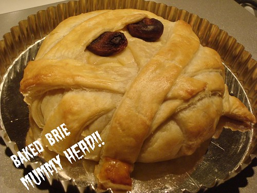 Baked Brie Mummy Head