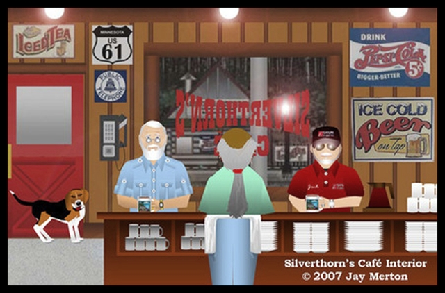 Jay Boomer & Daisy at Silverthorn's Café