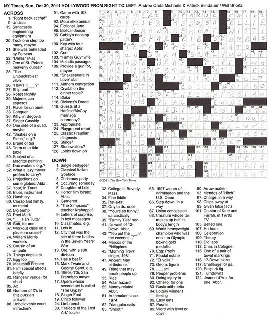 NYT Sunday Puzzle - October 30, 2011