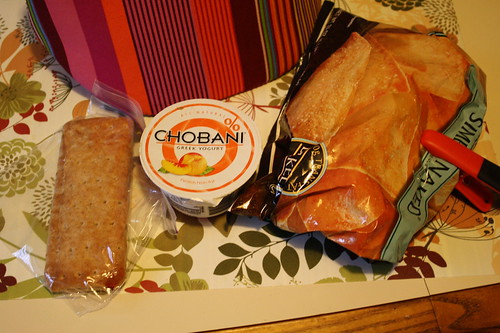 lunch-pb & j, peach chobani, pita chips