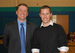Education Commissioner Stephen Bowen and Morgan Cuthbert pose for a picture.