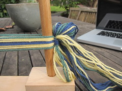 Warp tied off in a bow