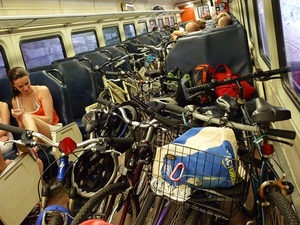 Bike Pile-Up on Rockport Commuter Rail Train