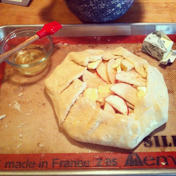 Apple galette in process.
