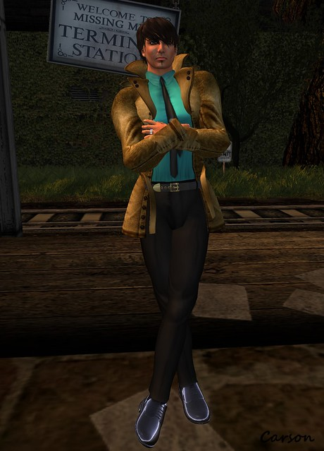 Carrasco's - Black Pants, Turquoise Shirt, and Formal Shoes, Just BECAUSE - Brown Leather Jacket