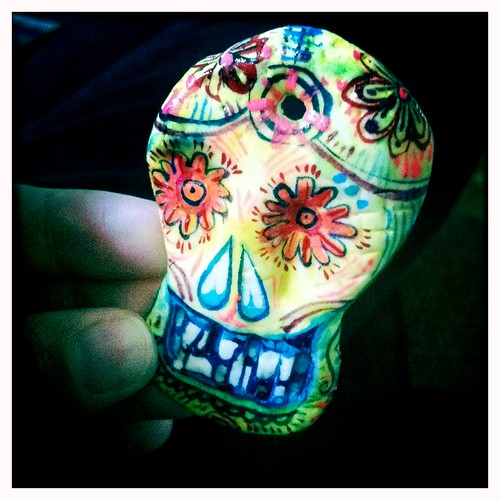 clay skull - painted