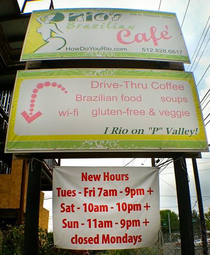 Rio's Brazilian Café - Exterior sign