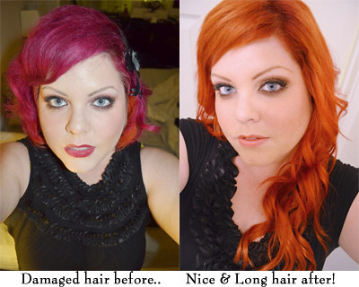 My hair before extensions and after