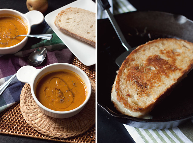 Butternut Squash-Apple Soup & Gouda Grilled Cheese