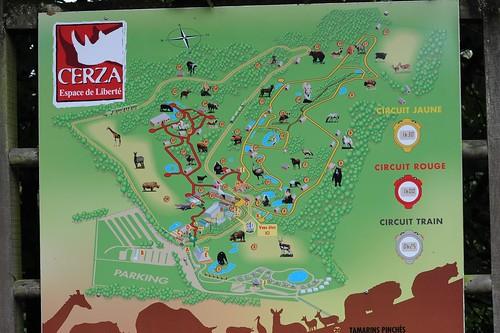 Plan des Tierparks CERZA bei Lisieux in der Normandie