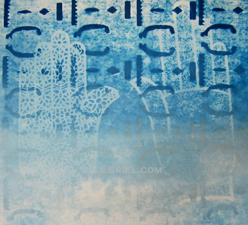 Cyanotype test: mehndi hands and chinese paper