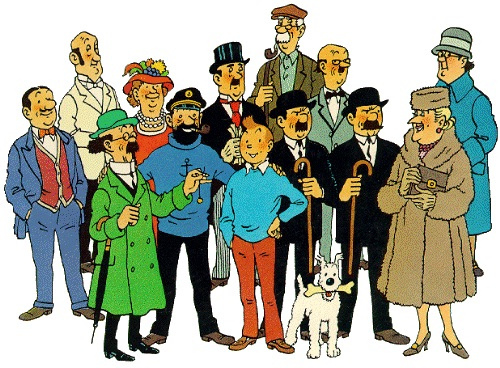 The original 2D cartoon version of the characters in The Adventure of Tintin comic series