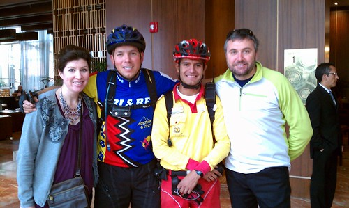 Angela, Oscar, Sergio, and Max before Sunday's Ciclovia ride in Bogota, Colombia by Angela Hunt