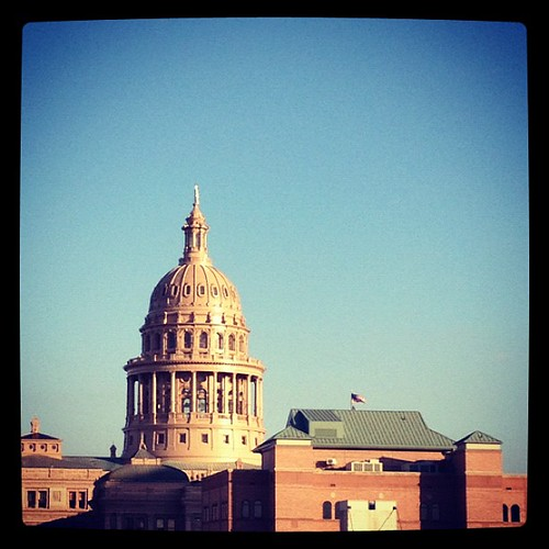 A view of the Texas Capitol from the office roof