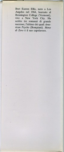 Bret Eston Ellis, Meno di zero. Pironti 1986. Risvolto della quarta di sovracoperta; prima edizione, nuova sovracoperta.