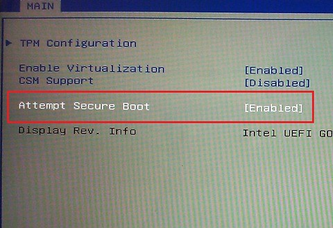 Samsung PC secure boot