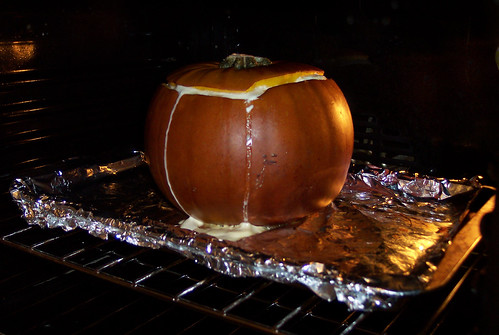 Whole baked pumpkin with cheese & cream