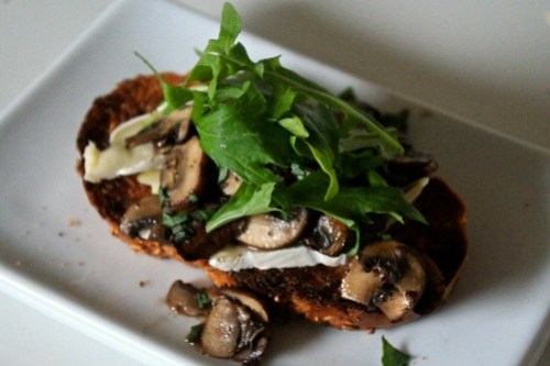 Open-Faced Mushroom Brie Sandwich