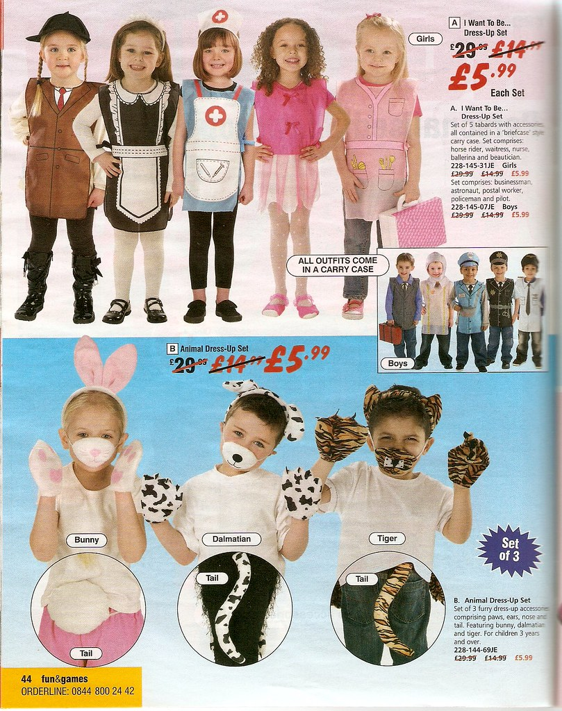 Catalogue images of dressing-up clothes. Girls: horse rider, waitress, nurse, ballerina, beautician; boys: businessman, astronaut, postal worker, policeman, pilot. Also: dalmatian/tiger for boys, bunny for girls.