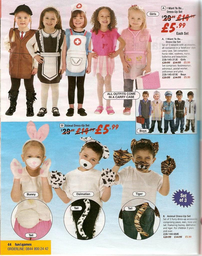 Catalogue images of dressing-up clothes. Girls: horse rider, waitress, nurse, ballerina, beautician; boys: businessman, astronaut, postal worker, policeman, pilot. Also: dalmatian/tiger for boys, bunny for girls.
