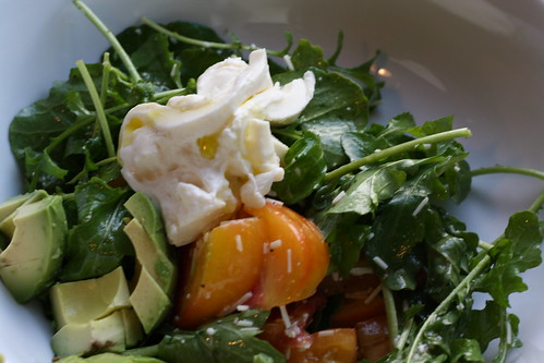 Arugula salad w/heirloom tomatoes, avocado & burrata