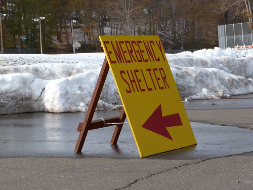 Emergency Shelter Sign in CT for October 30 Snowstorm